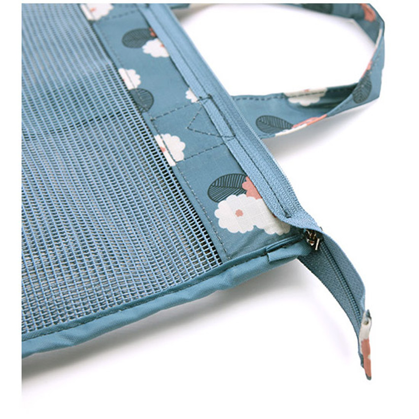 Detail of Coated mesh handy tote bag pouch