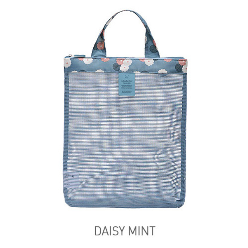 Daisy mint - Coated mesh handy tote bag pouch
