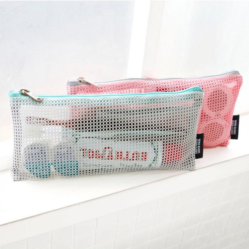 Mesh travel zipper slim pouch ver.2