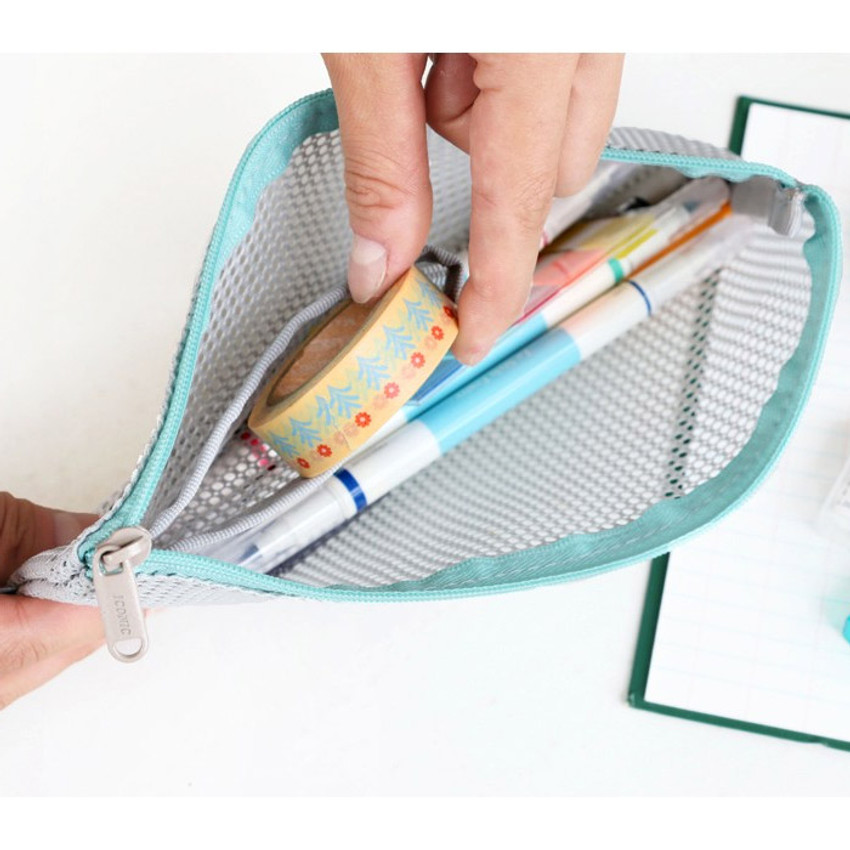 Gray - Mesh travel zipper slim pouch ver.2