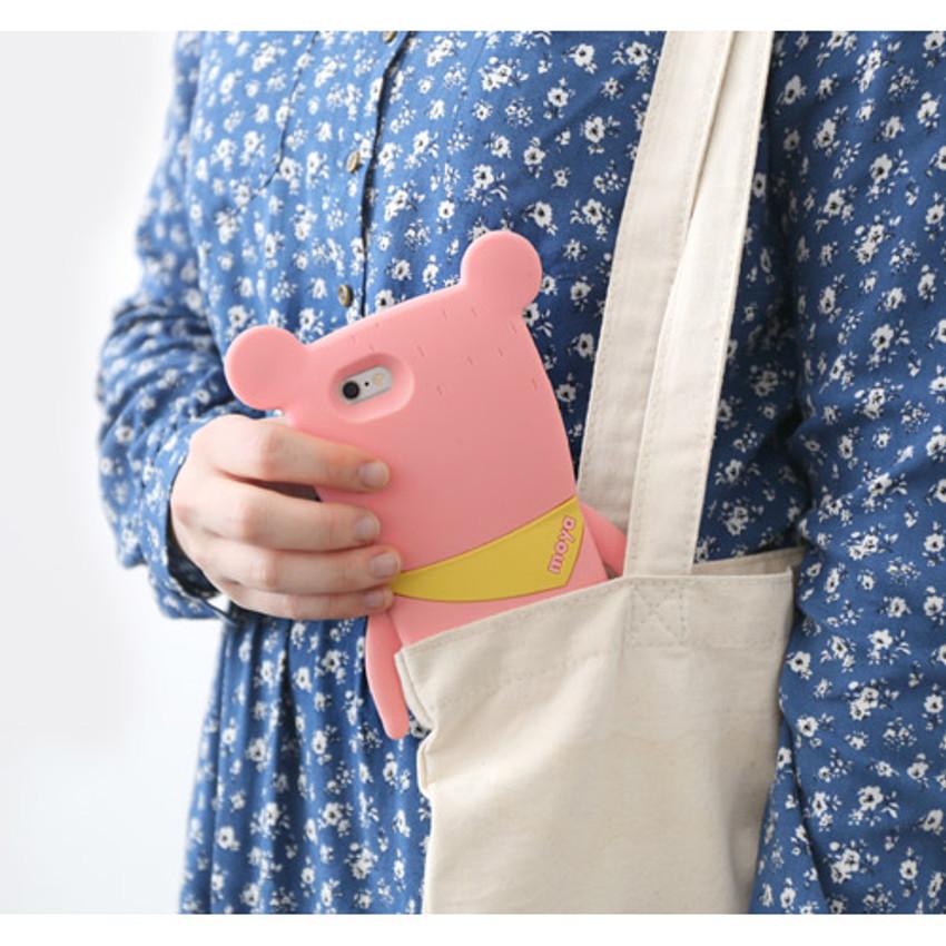 Pink - Monowave cute bear moya iPhone 6 jelly case