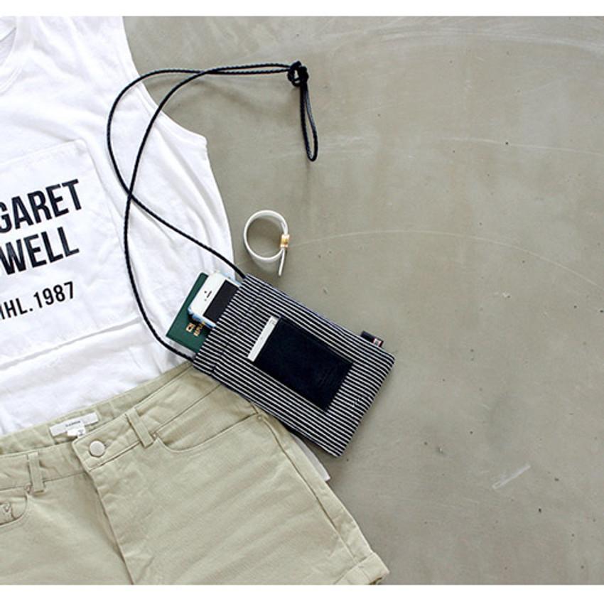 Stripe - The Basic cotton denim small crossbody bag