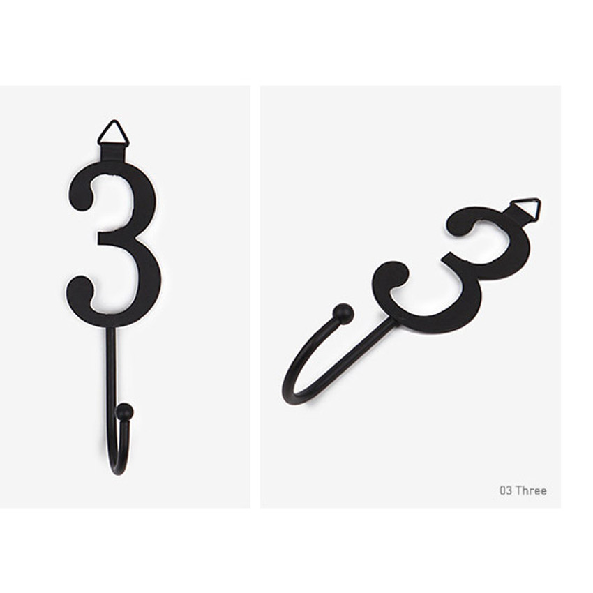 Three - Number wall hook