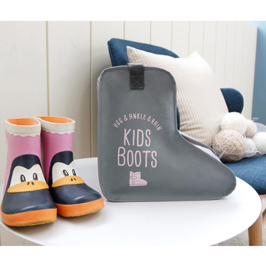 Gray - Pastel scandic kids boots storage bag