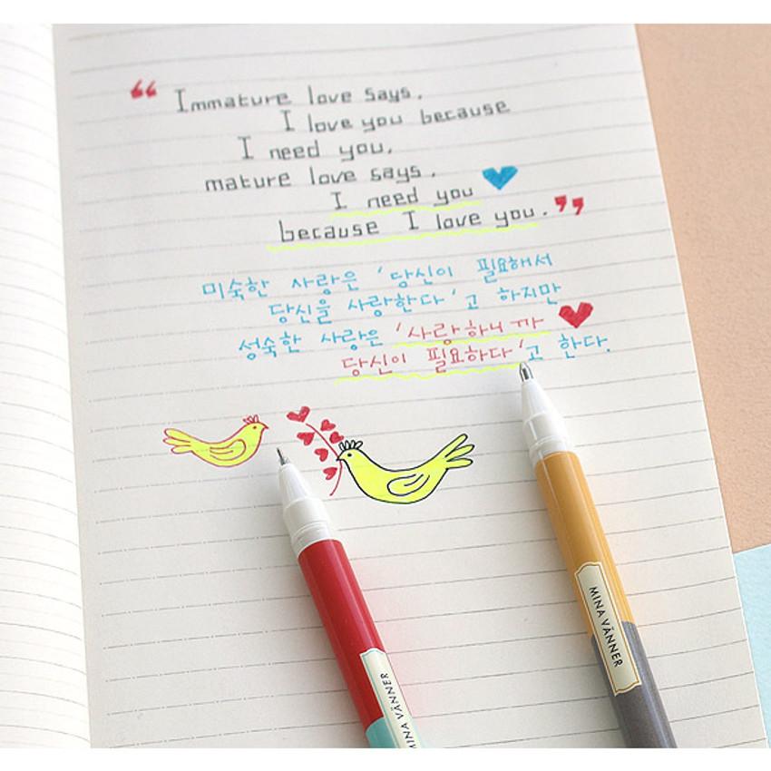 Color - Bright color twin gel pen set