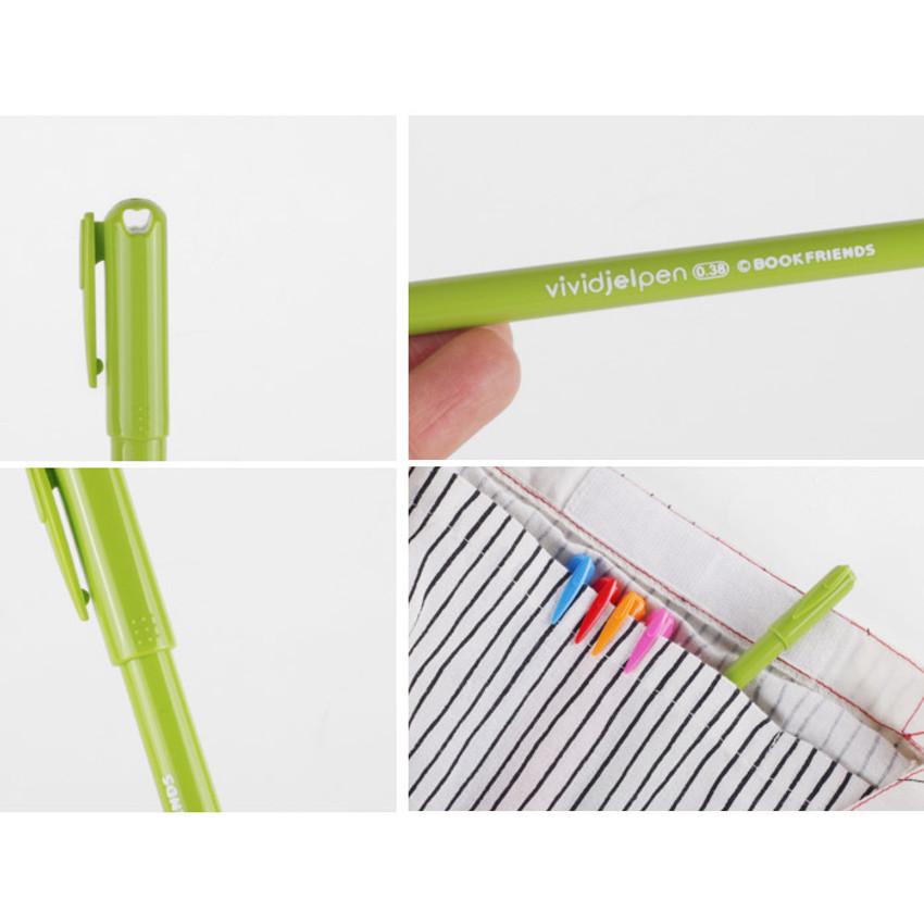 Detail of Rainbow vivid color gel pen 0.38mm