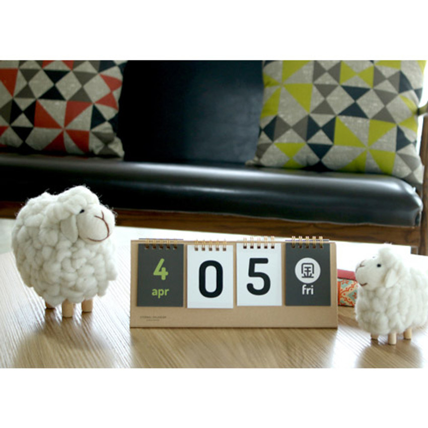 Natural - Wirebound flip perpetual desk calendar