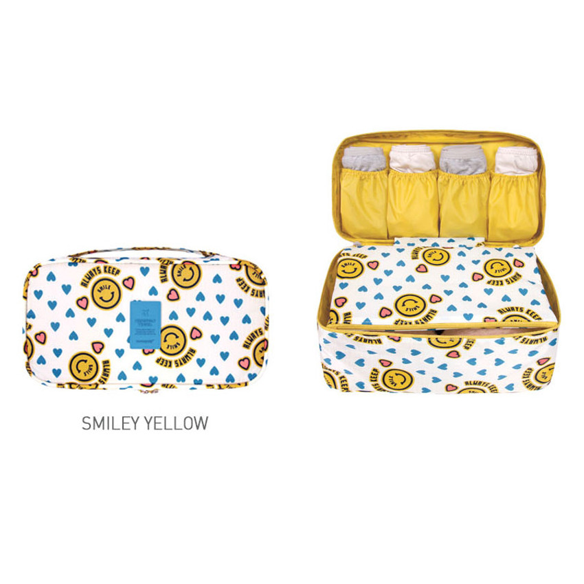 Smiley yellow - Merrygrin travel large pouch bag for underwear