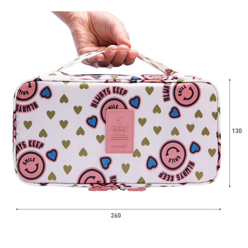 Size of Pattern travel pouch bag for underwear and bra