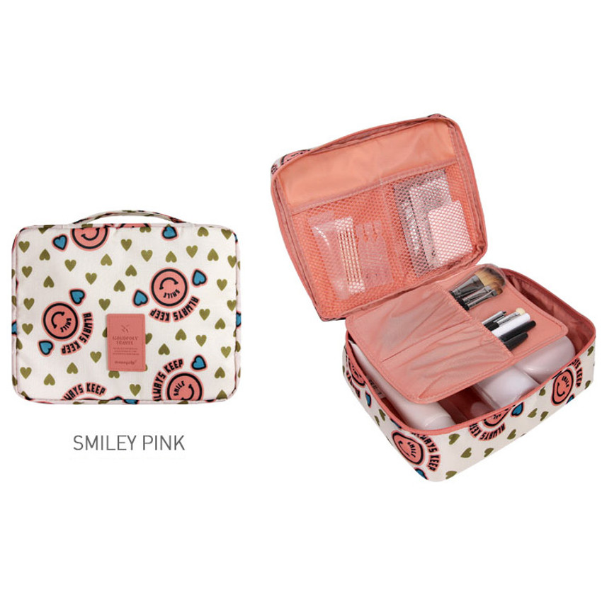 Smiley pink - Merrygrin travel mesh multi pouch bag packing aids