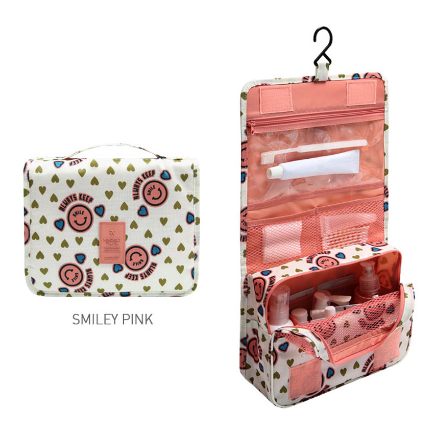Smiley pink - Merrygrin travel hanging toiletry pouch bag