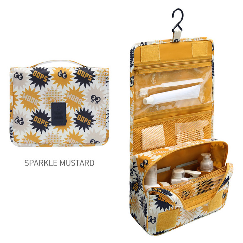 Sparkle mustard - Merrygrin travel hanging toiletry pouch bag