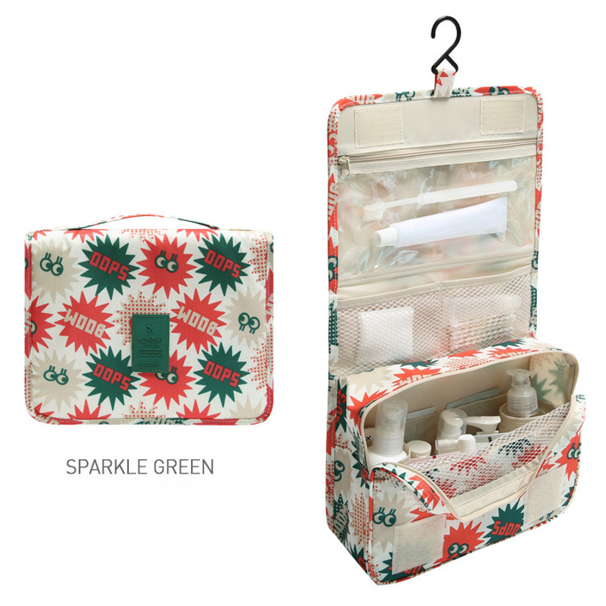 Sparkle green - Merrygrin travel hanging toiletry pouch bag