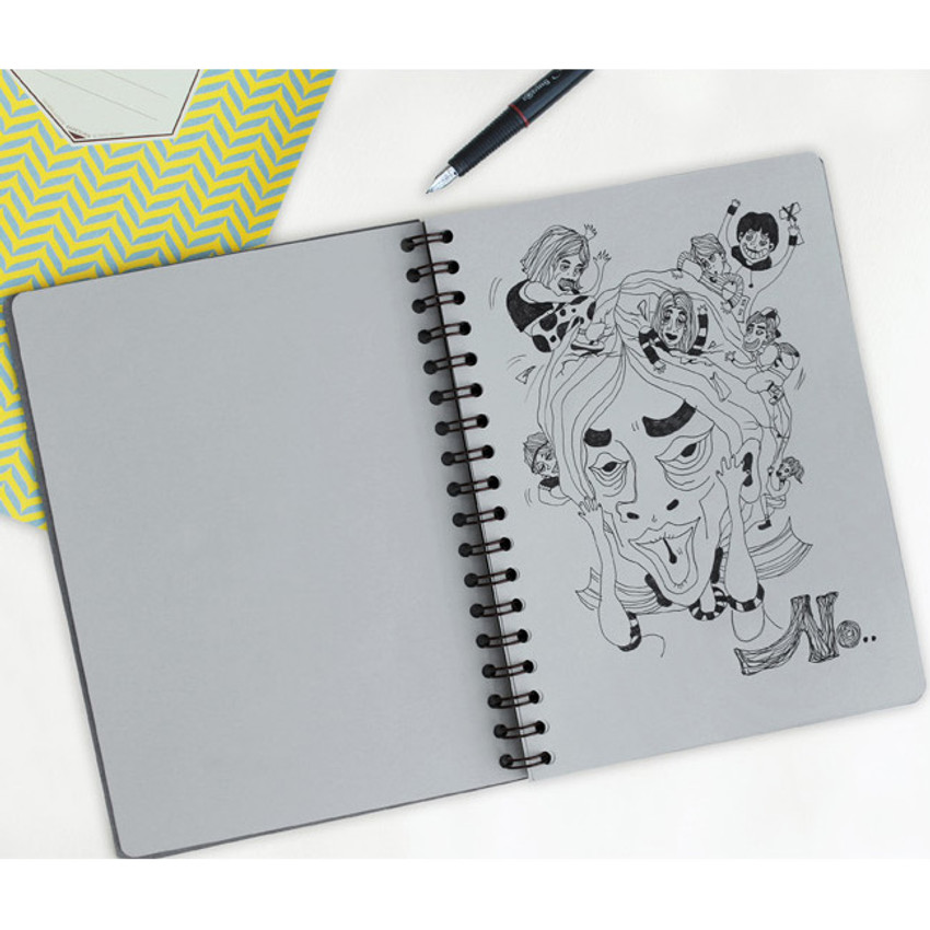 Gray - Monologue wirebound plain notebook
