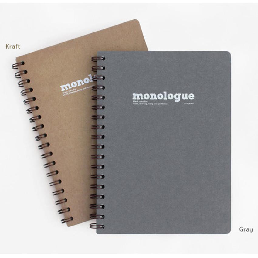 Monologue wirebound plain notebook