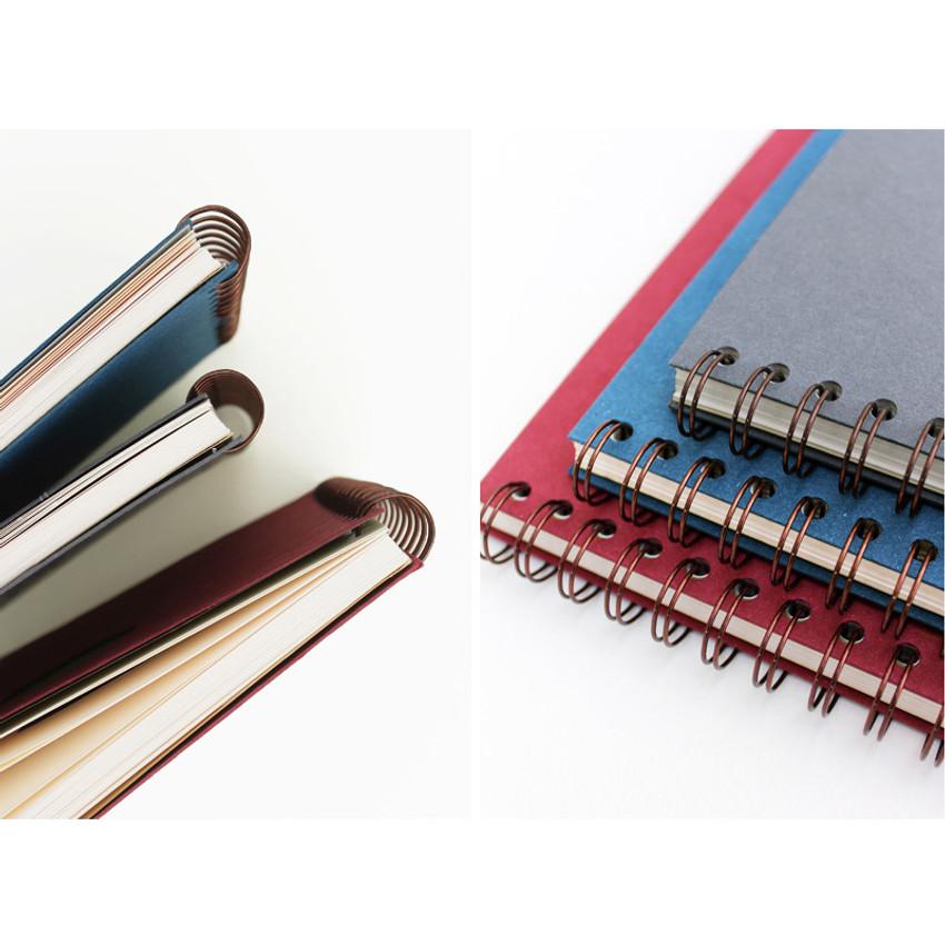 Detail of Les naturals wirebound scrap notebook