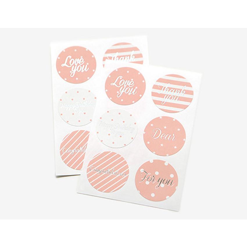 Circle message paper sticker ver.3 (pink)