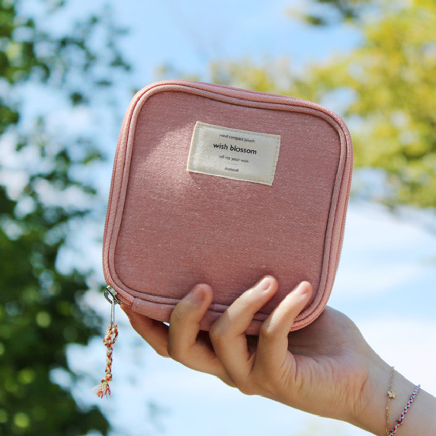 Indi pink - Wish blossom mind compact zipper pouch