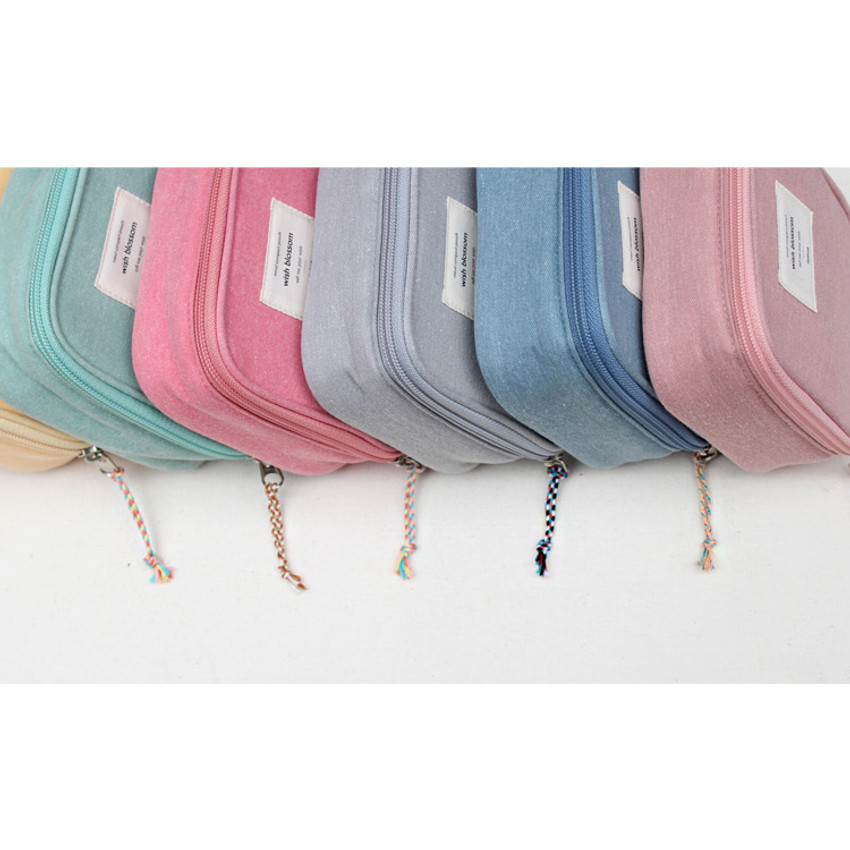 Detail of Wish blossom mind compact zipper pouch