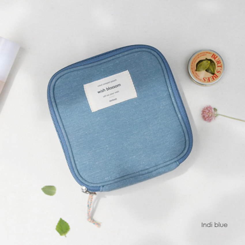 Indi blue - Wish blossom mind compact zipper pouch