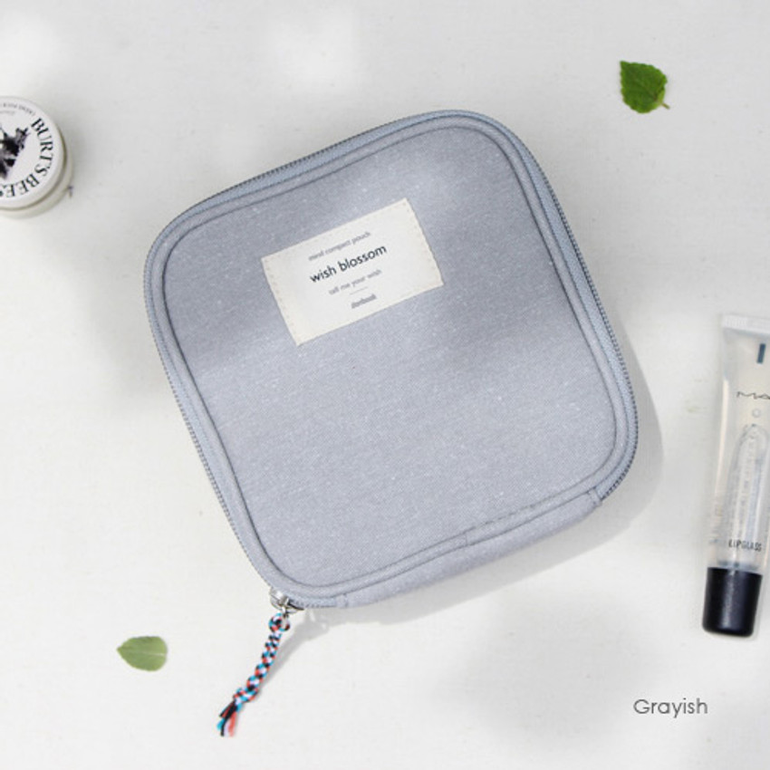 Grayish - Wish blossom mind compact zipper pouch
