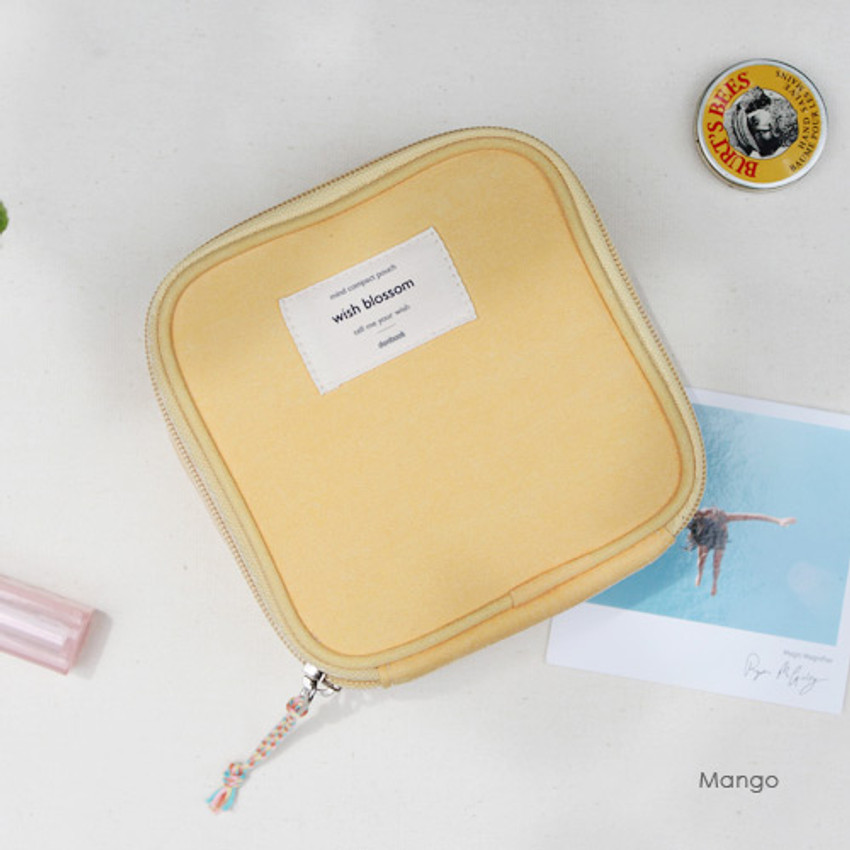 Mango - Wish blossom mind compact zipper pouch