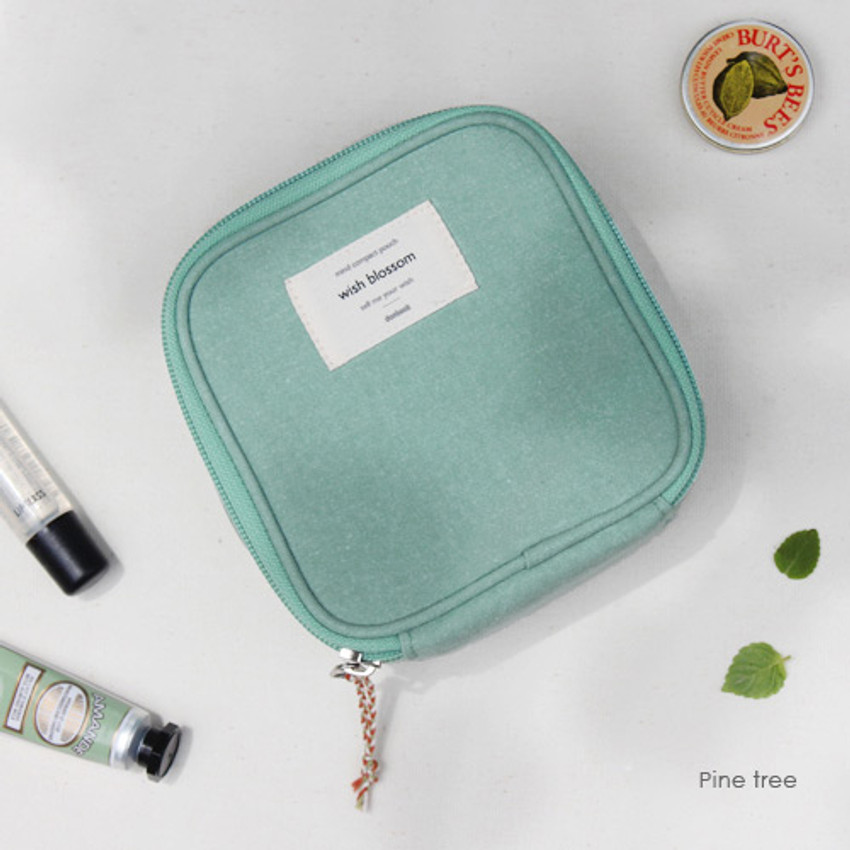 Pine tree - Wish blossom mind compact zipper pouch