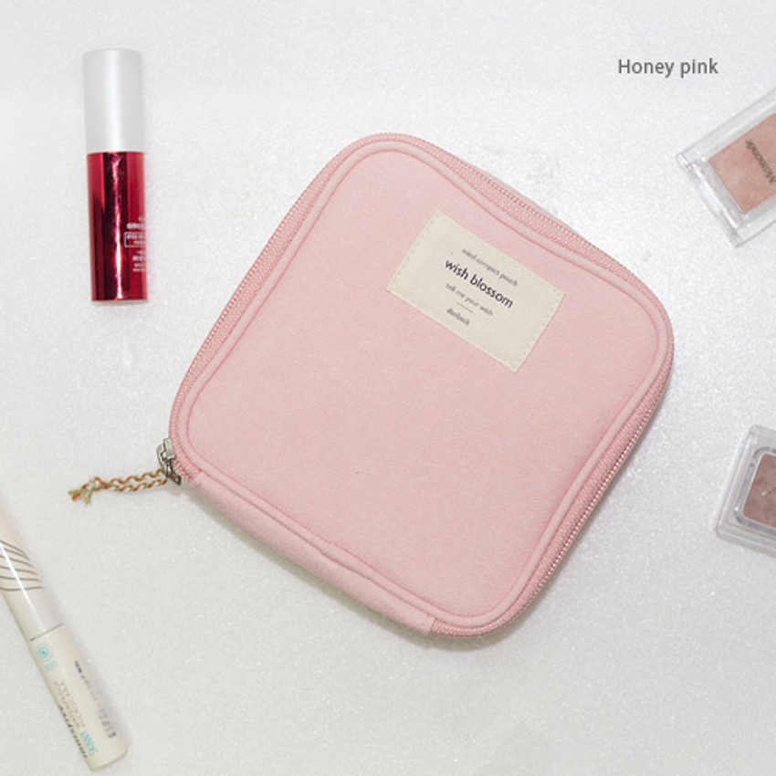 Honey pink - Wish blossom mind compact zipper pouch