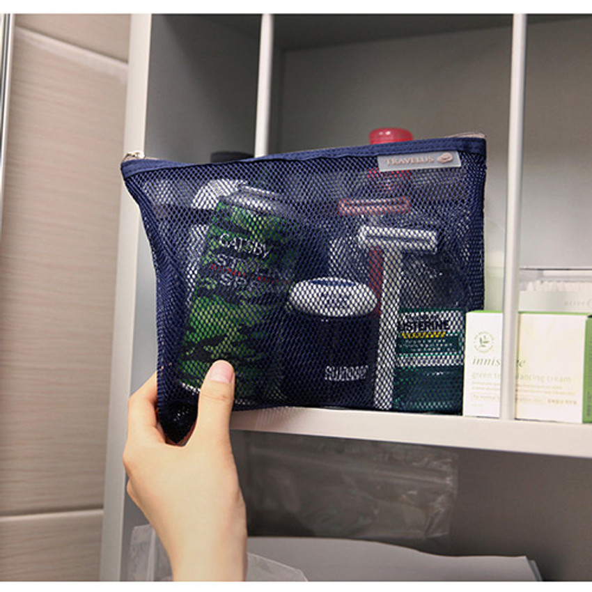 Dark navy - Travelus Medium slim mesh pouch ver.3