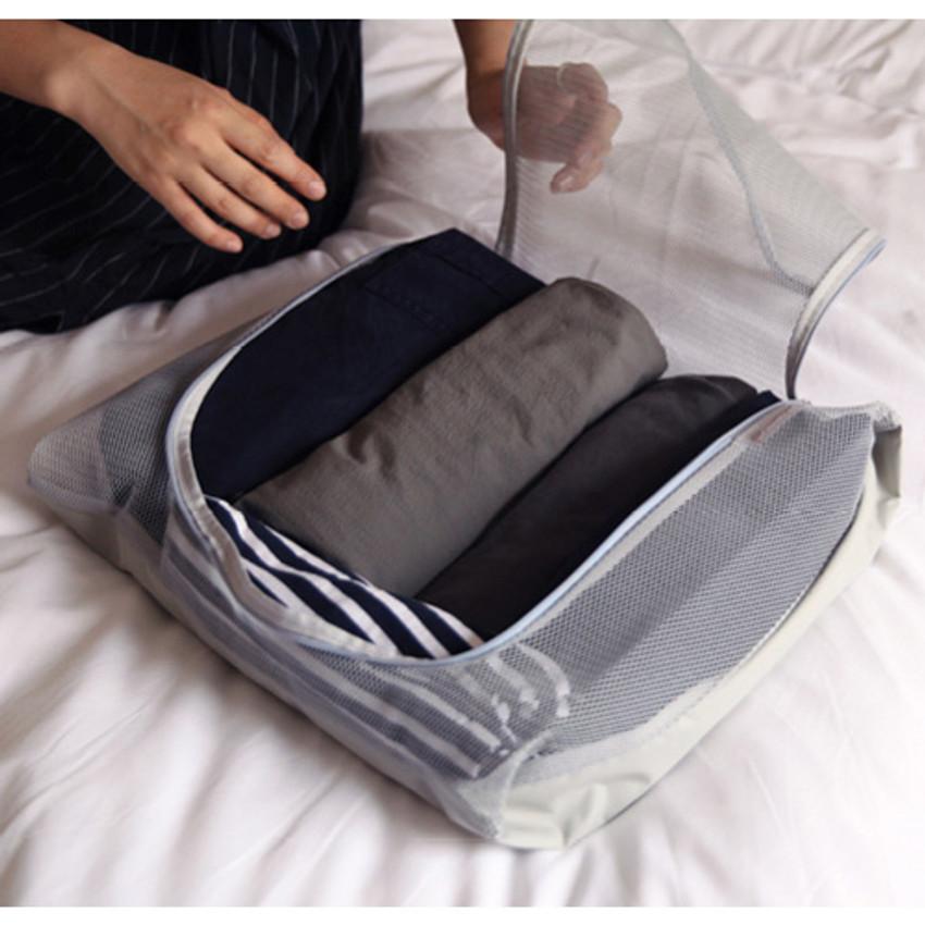Light gray - Travelus mesh packing organizer bag XL ver.2
