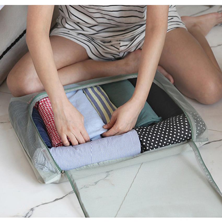 Ice gray - Travelus mesh packing organizer bag XXL ver.2