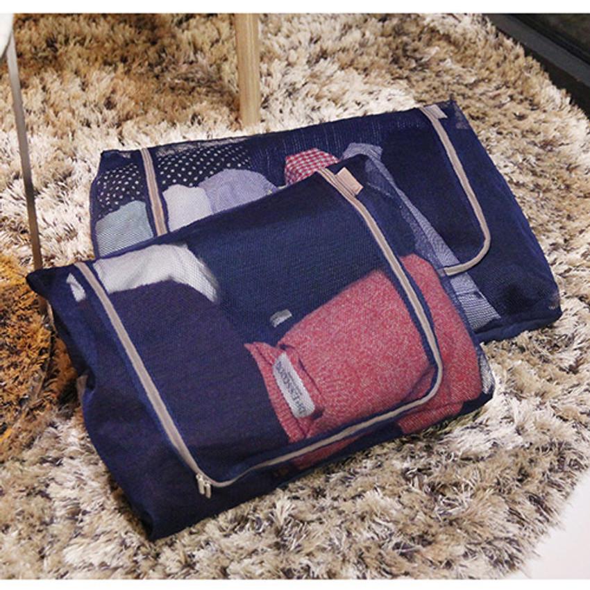 Dark navy - Travelus mesh packing organizer bag XXL ver.2