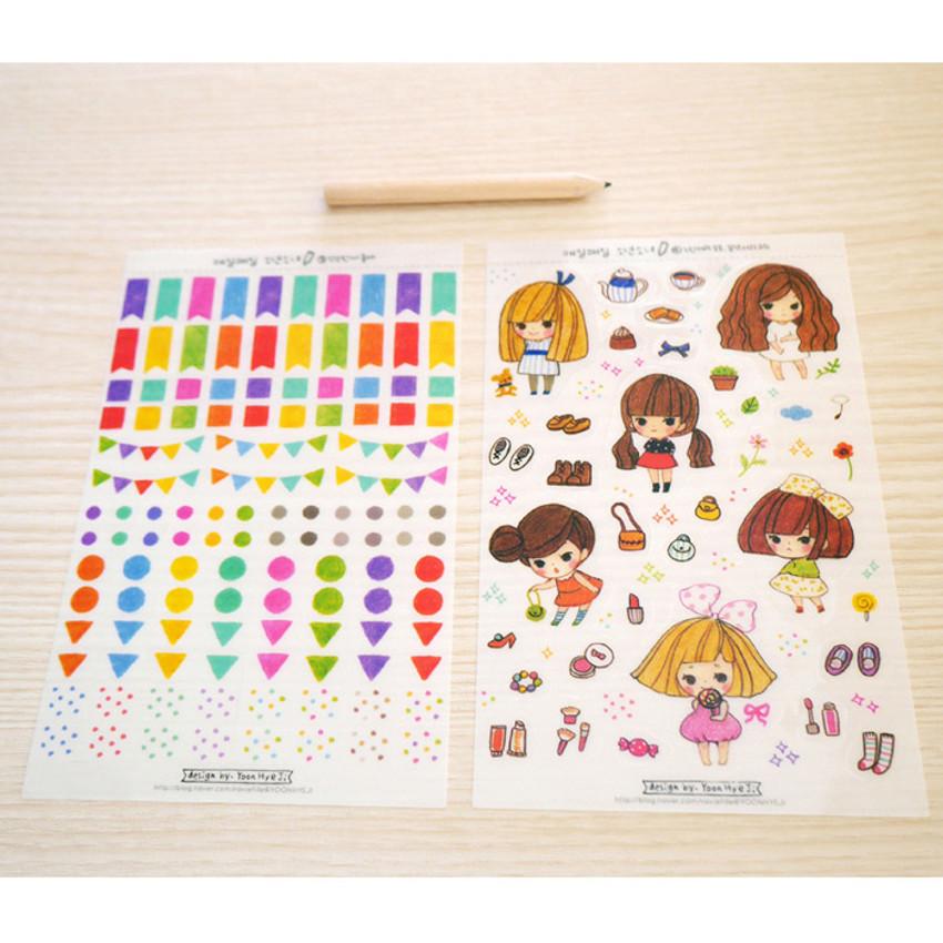 Everyday boy and girl deco sticker set