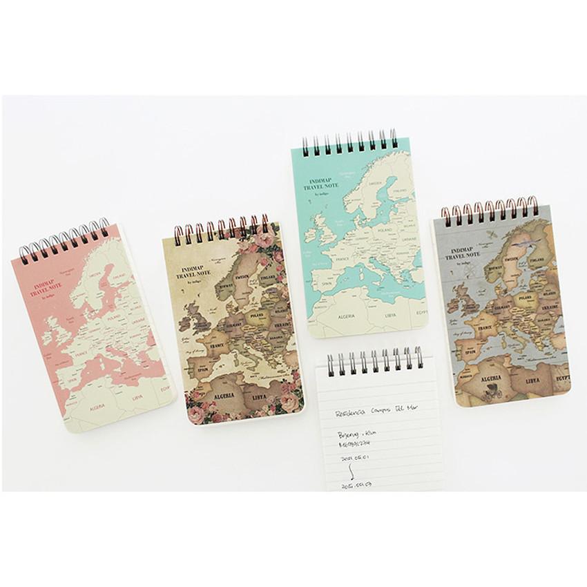 World map pattern wirebound lined notepad