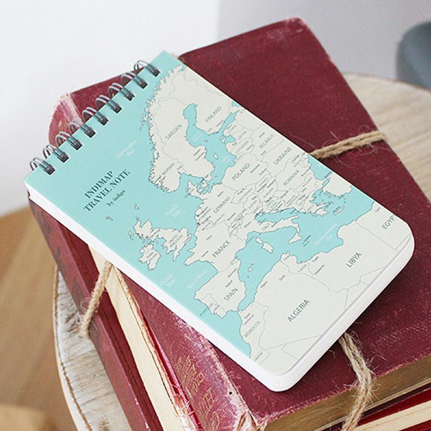Mint - World map pattern wirebound lined notepad