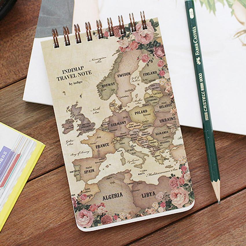 Antique - World map pattern wirebound lined notepad