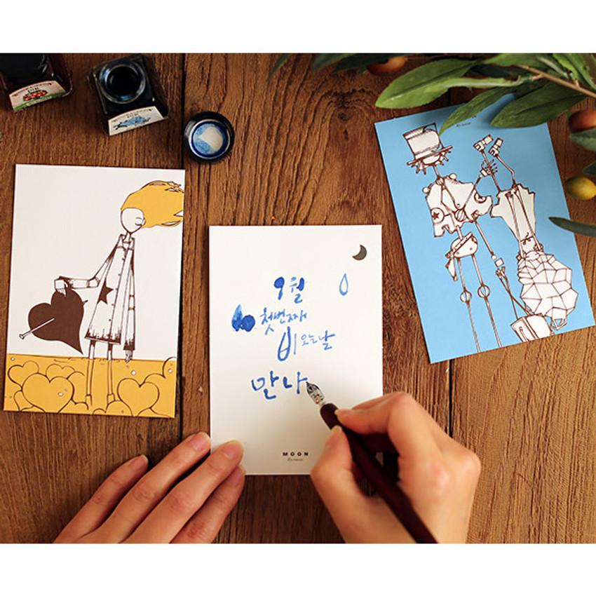 Moon illustration postcard set