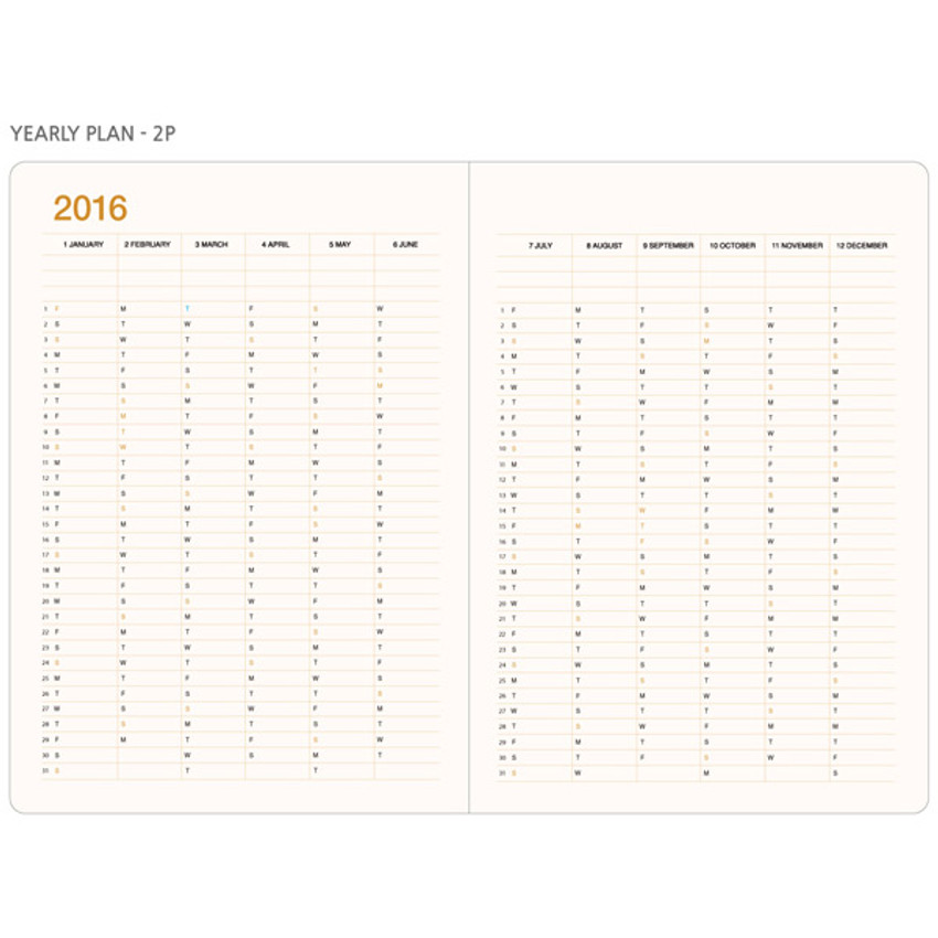 Yearly plan - 2016 Record weekly dated large planner
