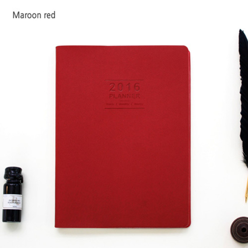 Maroon red - 2016 Record weekly dated large planner