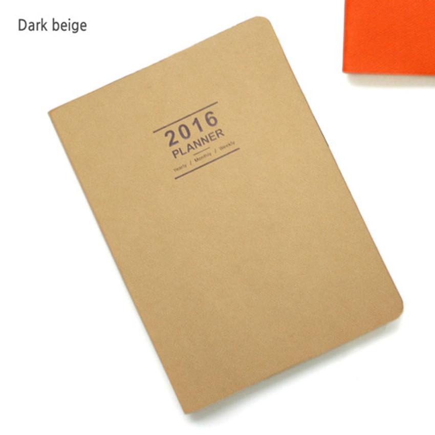 Dark beige - 2016 Record weekly dated large planner