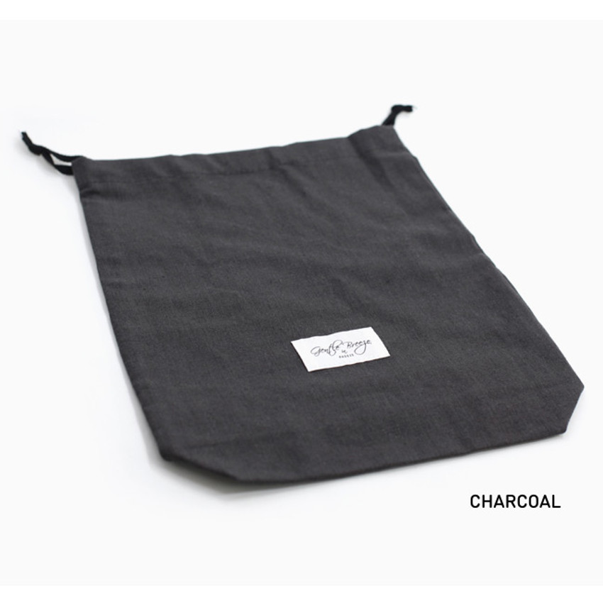 Charcoal - Natural and Pure fabric gentle drawstring pouch