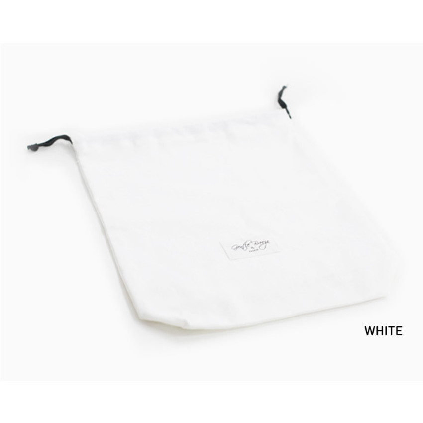 White - Natural and Pure fabric gentle drawstring pouch