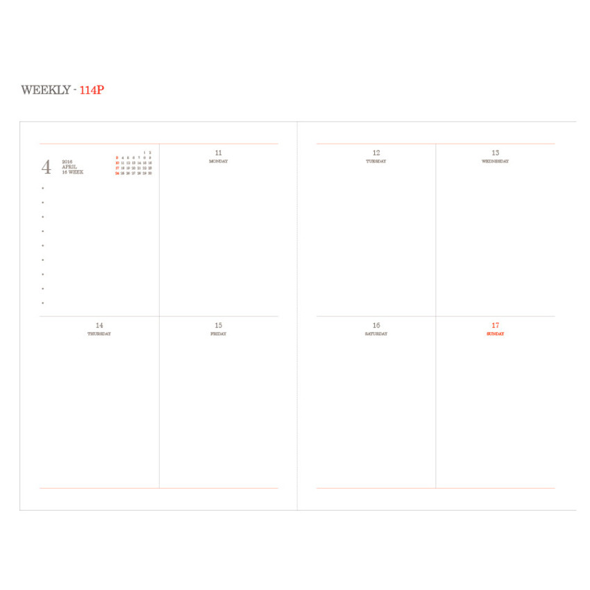 Weekly - 2016 Object dated weekly diary