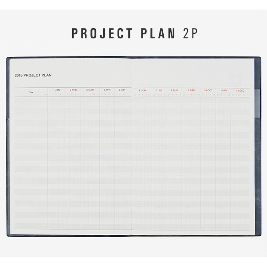 Project plan - 2016 Table talk B6 dated monthly planner