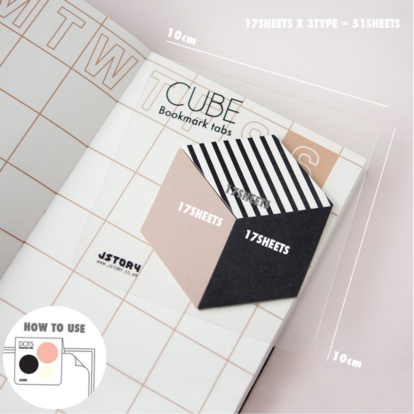 Size of Index cute dots triangles sticky bookmark