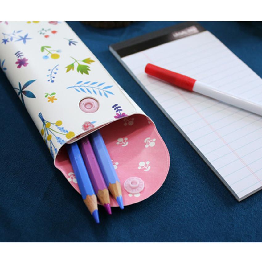 Detail of Cactus flower pattern folding pencil case