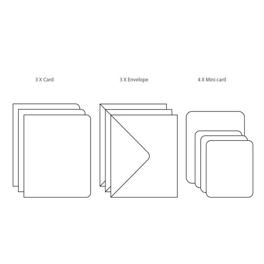 Composition of Fruits illustration card set