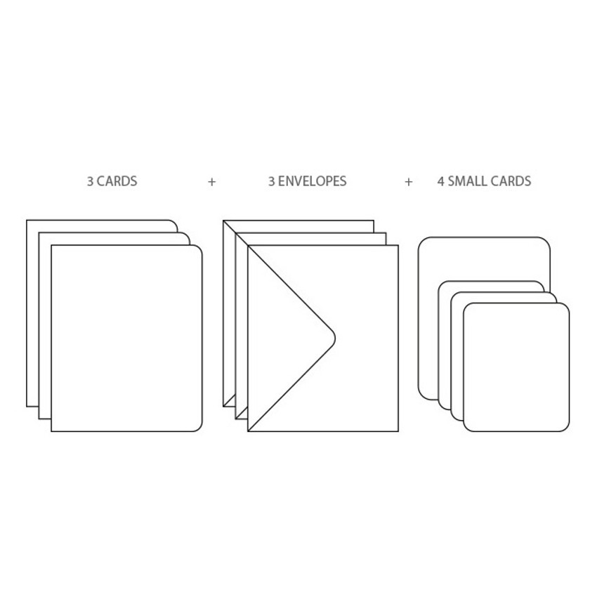 Composition of Bird illustration card set