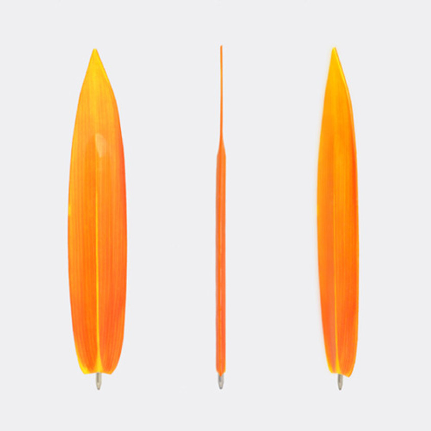 Bamboo orange leaf bookmark black ballpoint pen