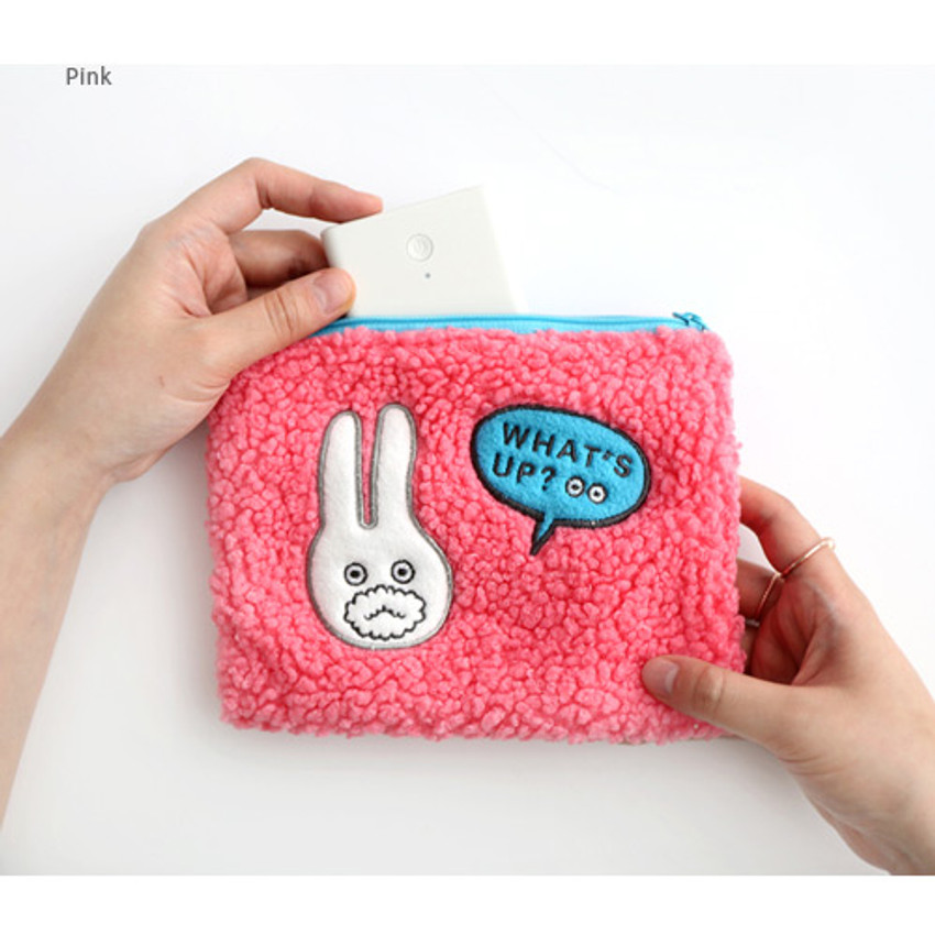 Pink - Brunch brother cute square zipper pouch